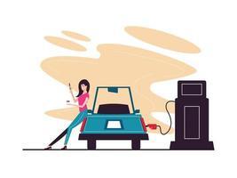 carro reabastecer no posto de gasolina vetor