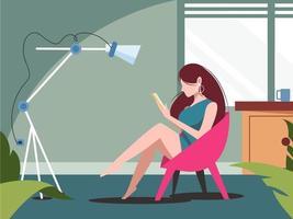 menina lendo um livro em casa vetor