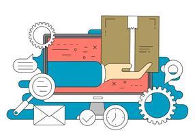 Ilustração em linha do vetor da compra em linha