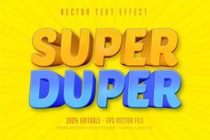 texto super duper, efeito de texto editável estilo cartoon vetor