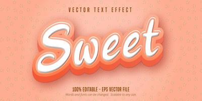 texto rosa doce, efeito de texto estilo desenho animado vetor