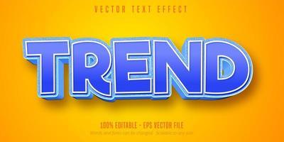 texto de tendência em azul, branco, efeito de texto em estilo desenho animado vetor