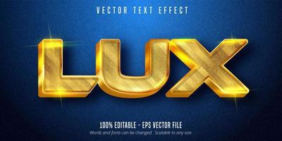 texto lux, efeito de texto estilo dourado brilhante vetor