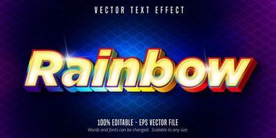 texto arco-íris, efeito de texto colorido brilhante vetor