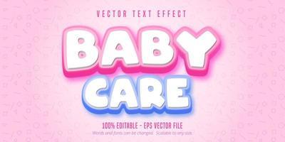 texto de cuidados com o bebê, efeito de texto estilo desenho animado vetor