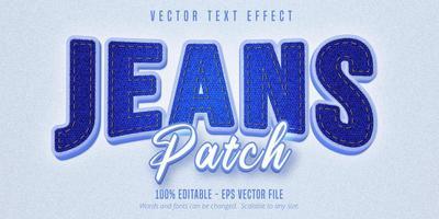 texto patch jeans, efeito de texto estilo jeans realista vetor