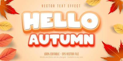 Olá, texto de outono, efeito de texto de estilo outono