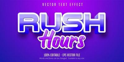texto das horas de ponta, efeito de texto de estilo de jogo vetor