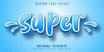 super texto, efeito de texto estilo desenho animado vetor