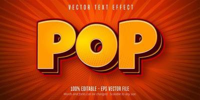 texto pop amarelo, efeito de texto de estilo pop art vetor