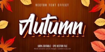 efeito de texto do estilo outono na textura de madeira