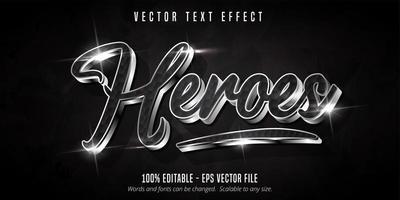 texto heróis, efeito de texto estilo prata brilhante vetor