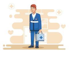 paramédico profissional com kit médico