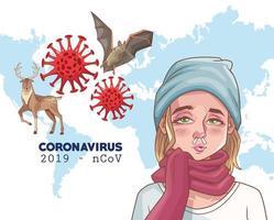 infográfico de coronavírus com mulher doente e animais vetor