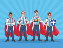 equipe super masculina de médicos vs covid19