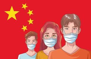 pessoas doentes protegidas contra coronavírus vetor