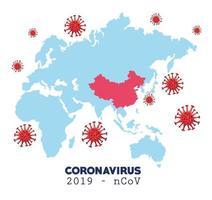 infográfico de coronavírus com mapa mundial vetor