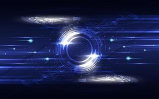 conceito de comunicação de alta tecnologia em azul e branco brilhante vetor