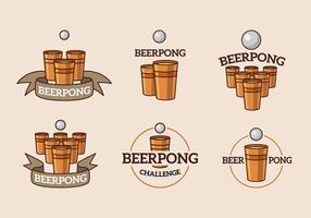 Logotipo de cerveja e copo de pong e bola
