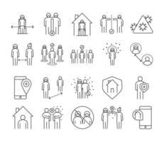 Infecção viral e pacote de ícones de pictograma de distância social