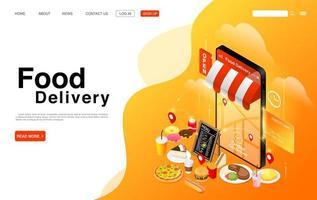 página de destino do serviço de entrega de comida online vetor