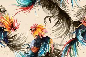 Padrão sem emenda de galo lutador pintado com aquarela vetor