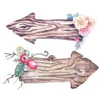 flecha em aquarela com placas de madeira decoradas com flores