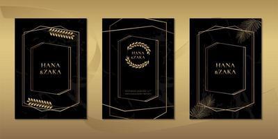 Modelo de cartões de convite de casamento em mármore preto com folhas de ouro vetor