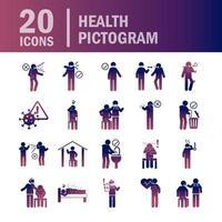 conjunto de ícones de pictograma de cor gradiente de saúde e infecção viral vetor