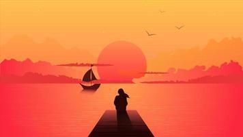 menina sonhadora olhando o pôr do sol com um veleiro