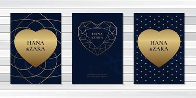 decore o cartão de convite de casamento com o símbolo do coração vetor