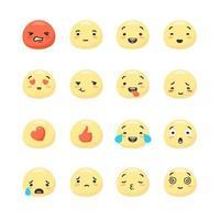 rostos sorridentes amarelos expressando emoções positivas e negativas