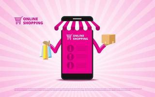 conceito de compras online com smartphone segurando itens vetor