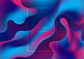 formas abstratas de gradiente líquido ondulado em azul e roxo