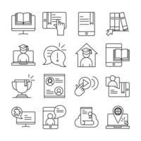 pacote de ícones de pictograma de linha educacional online vetor