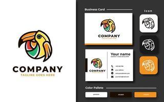 modelo de pássaro tucano colorido criativo e cartão de visita