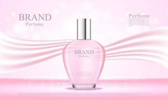 Frasco de perfume 3D com tecido de seda rosa vetor