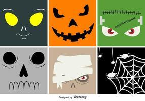 Caras do vetor dos desenhos animados do Dia das Bruxas
