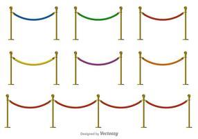 Ícones de cor de vetor de corda de veludo