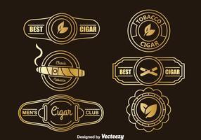 Vetor de coleção de etiquetas de charutos de ouro