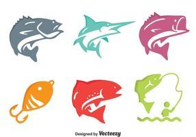 Vetor colorido dos ícones dos peixes da pesca
