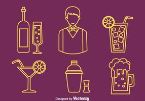 Barman elemento linha ícones vetor