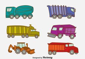 Vector de coleção de caminhão desenhado a mão