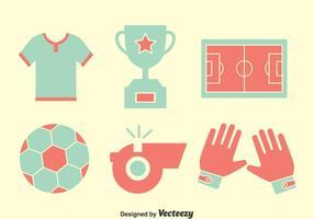 Vetor de ícones de elementos de futebol agradável