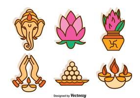 Conjunto de vetores culturais da Índia