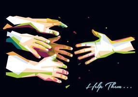 Ilustração mão para ajudar vetor