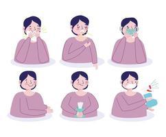 personagem masculino prevenindo infecção viral conjunto de ícones