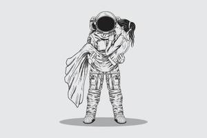 mão desenhando homem astronauta vetor
