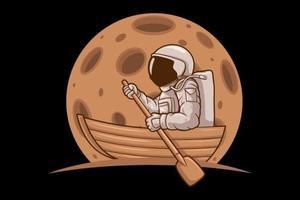 navio de personagem astronauta engraçado vetor