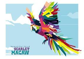 O Macaw Escarlate colorido em Popart vetor